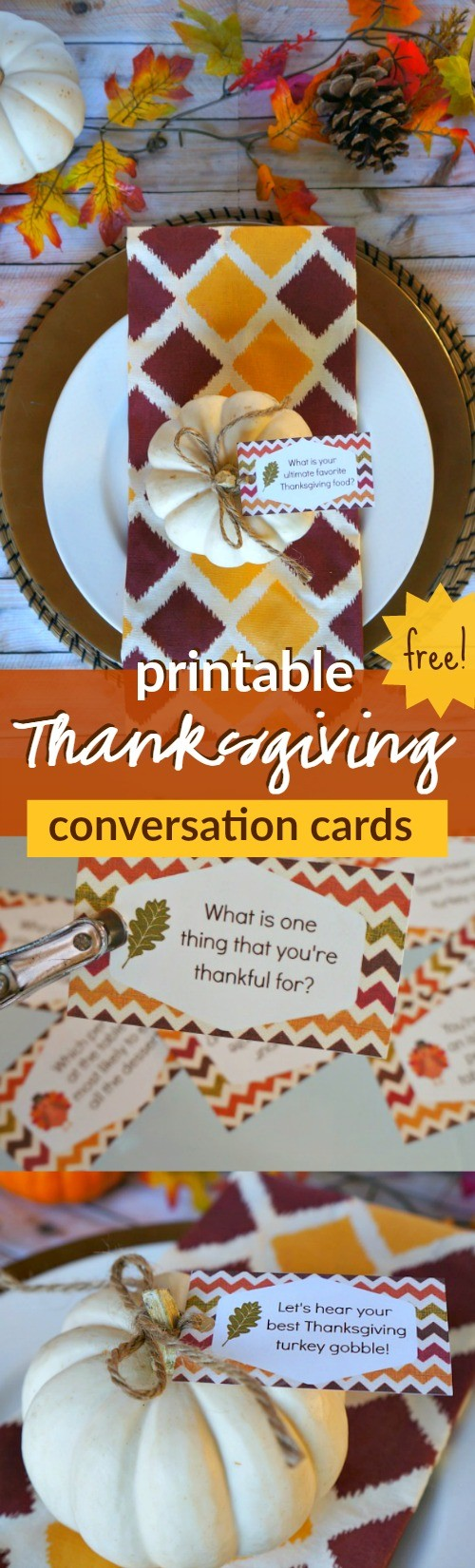 Free printable Thanksgiving conversation starter cards :: How fun are these Thanksgiving conversation starter cards? Print them out for free and put them on the table this turkey day for a fun family conversation!