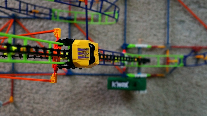 K'NE Wild Whiplash Roller Coaster with a motor, car goes up the roller coaster chain