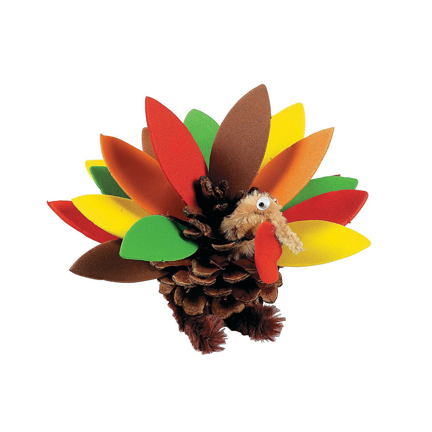 Pine cone and foam Thanksgiving turkey craft kit, Oriental Trading