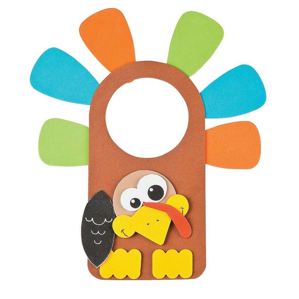Thanksgiving turkey door knob hanger craft, Fun Express