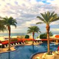 Beautiful inifinty pool overlooks the ocean at the Costa Baja Resort and Spa in La Paz, Mexico