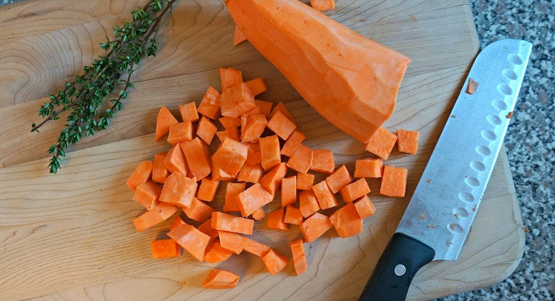 Diced sweet potatoes, Honey and Lime