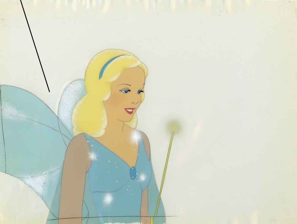 Disney Studio Artist, Blue Fairy cel, Paint on cellulose acetate and opaque watercolor on paper; collection of David Pacheco, © Disney
