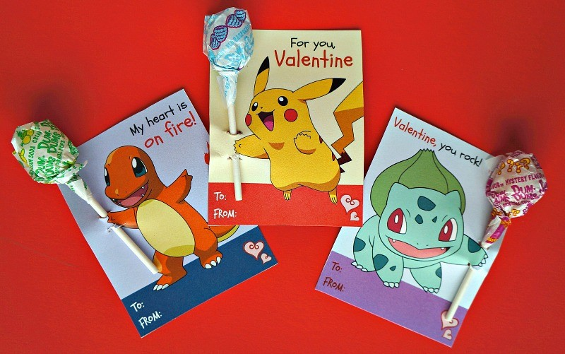 Free printable Pokemon Valentine's day cards with lollipops