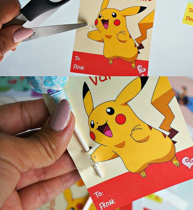 Making Pokemon Valentine cards with lollipops