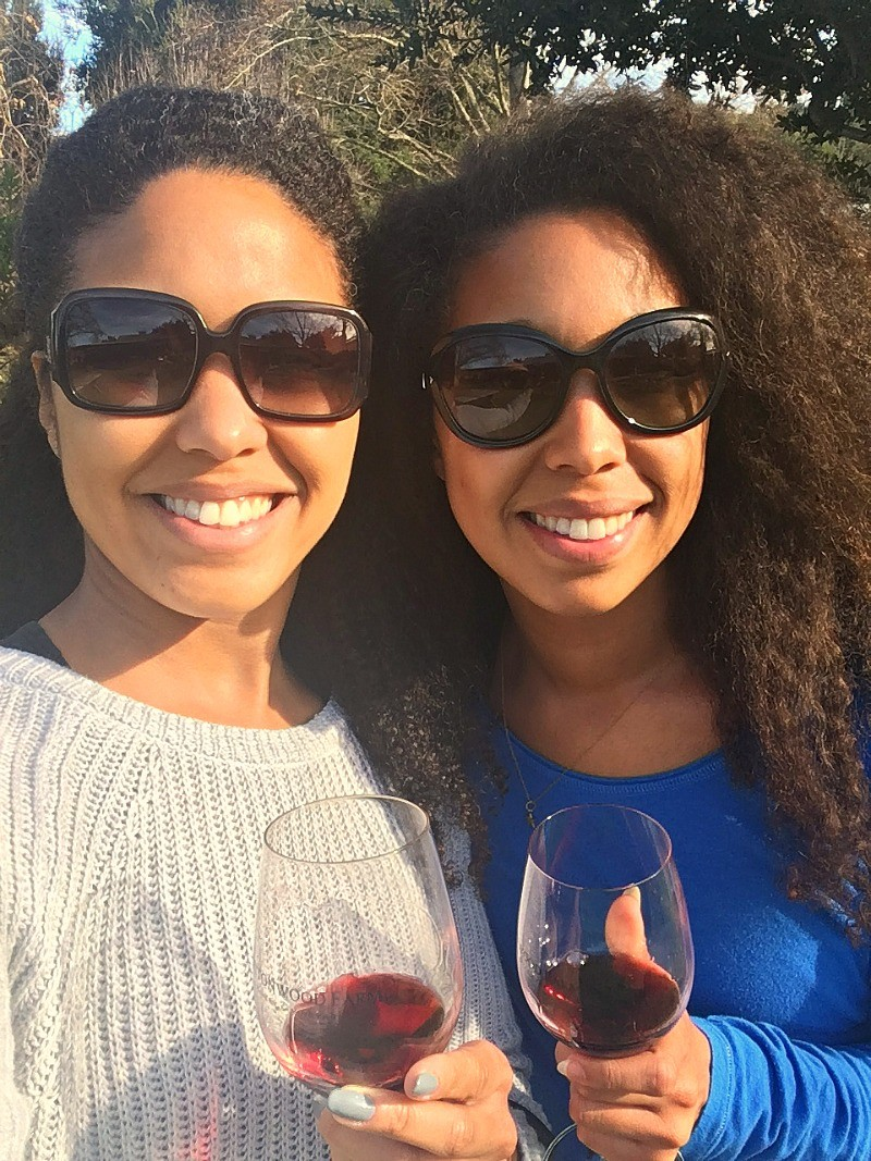 Girls go wine tasting at Buttonwood Vineyards and Winery, Solvang, CA