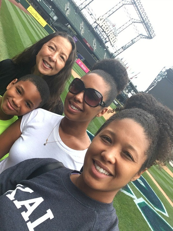 Family on the Seattle Mariners field at Safeco Field, Seattle, Washington