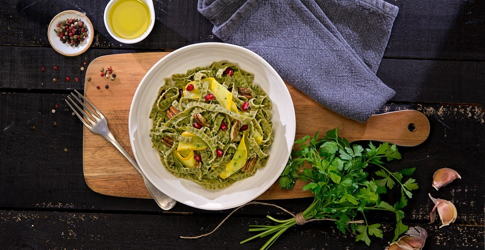 Vegan Fettuccine Pesto Recipe - organic, gluten free, and so delicious