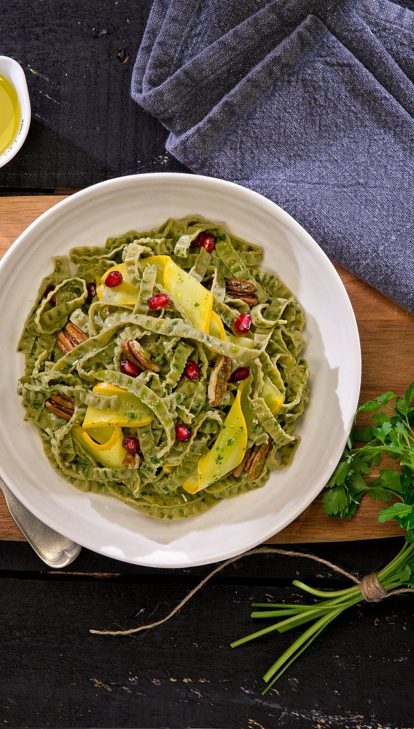 Vegan Fettuccine Pesto Recipe with Squash, Pecans, and Pomegranate Seeds