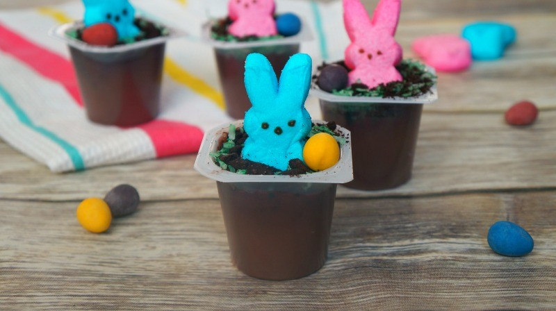 Cute Easter bunny dirt cups made with chocolate pudding