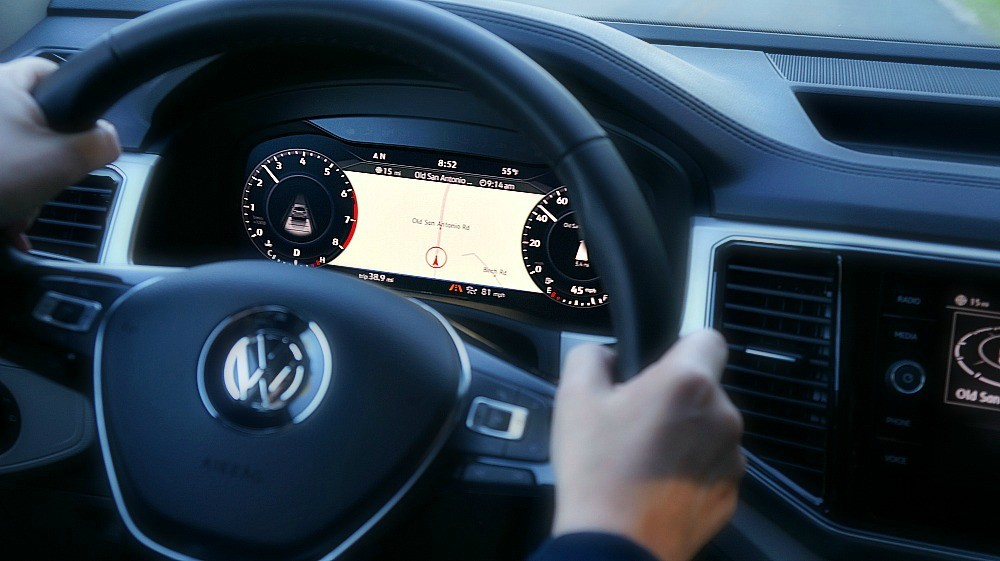 2018 Volkswagen Atlas digital cockpit allows you to toggle through the instrumentation, switch driver settings, large navigation map