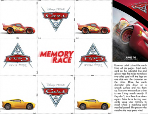 Disney Cars 3 Memory Race Game