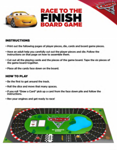 Disney Cars 3 movie Race to the finish board game