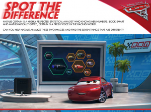 Disney Cars 3 movie Spot the Difference activity