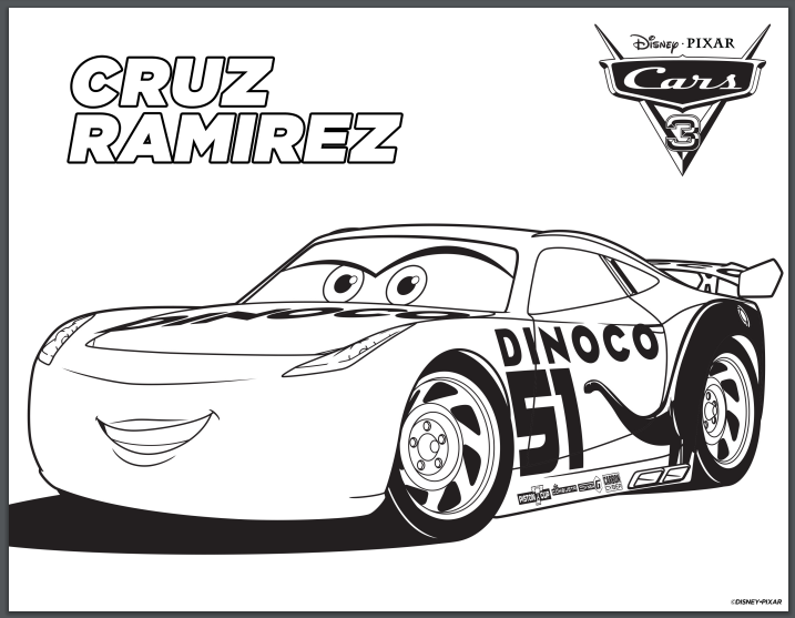 Disney Cars 3 Printable Coloring Pages Cruz Ramirez