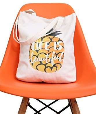 life is beautiful pineapple tote bag