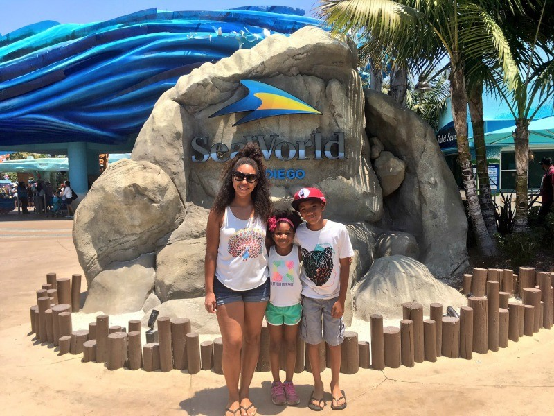 Family photo at Sea World San Diego