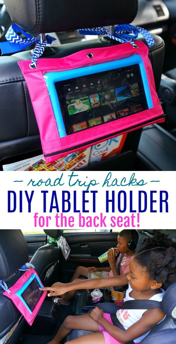 Road Trip Hacks- Make This Easy DIY Tablet Holder for the Car Head Rest, Perfect For Long Car Rides!