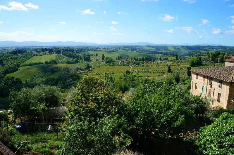 View of Tuscany hills from San Gimignano in Italy