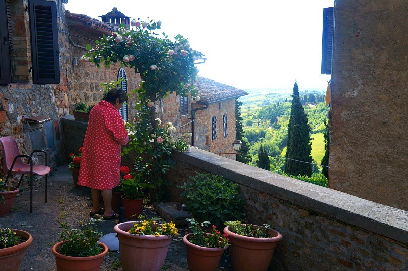 Woman tends to her garden in San Gimignano, Tuscany Italy