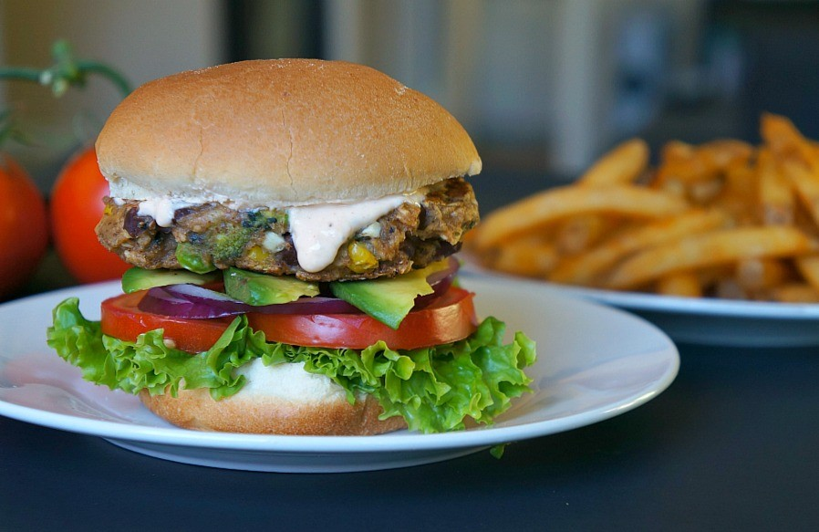 This chipotle avocado veggie burger with Bubba burger patty is the best veggie burger recipe!