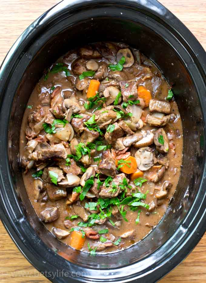 Crock pot beef bourgiugnon Betsy Life