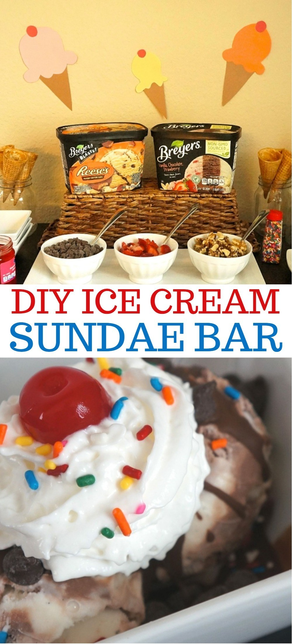 DIY Ice Cream Sundae Bar -Celebrating The End Of Summer With Fun Family DIY Ice Cream Party Ideas!