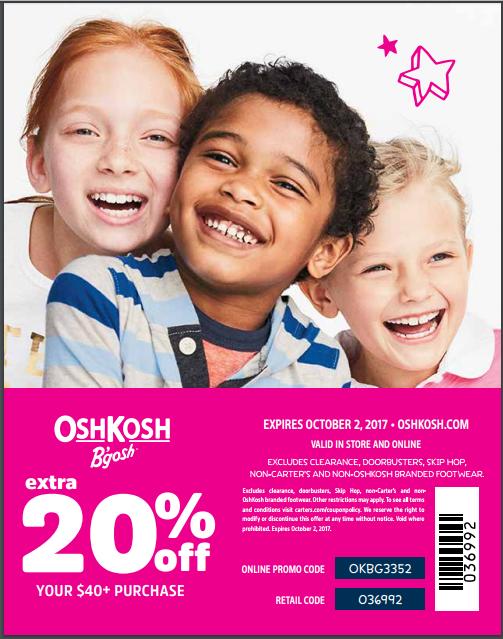 OshKosh Bgosh 20 percent off coupon code online in store October 2017