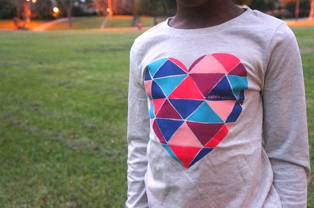 OshKosh girls happy heart long sleeved graphic tee