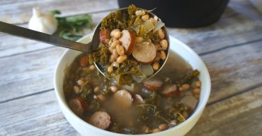 Slow cooker chicken sausage kale and white bean soup