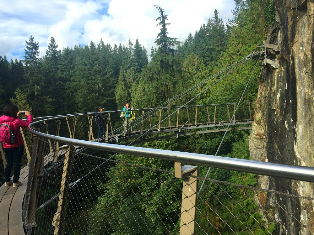 The Cliffwalk at Capilano Suspension Bridge Park in Vancouver BC Canada