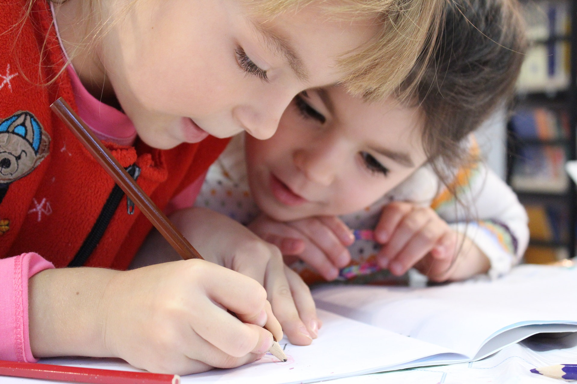 kids at school drawing together