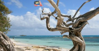 Photos of Antigua beaches, Jabberwock Beach with flag
