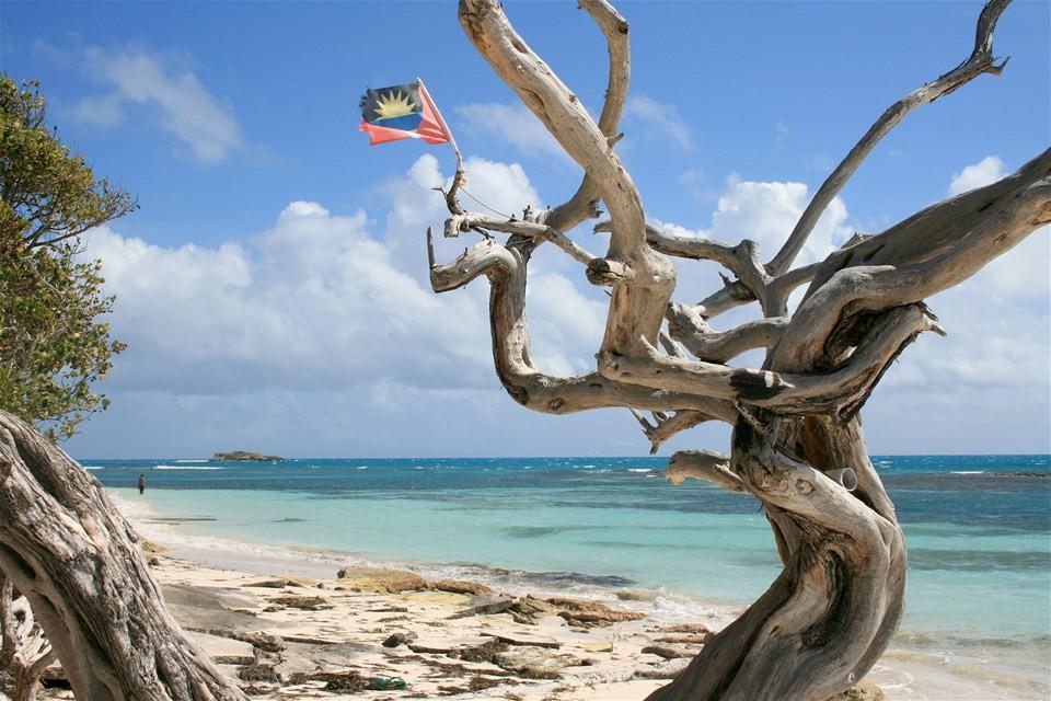 Photos of Antigua beaches, Jabberwock Beach with flag
