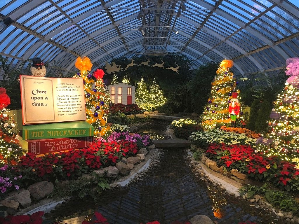 Christmas in Pittsburgh Phipps Conservatory Winter Garden show in Pittsburgh PA