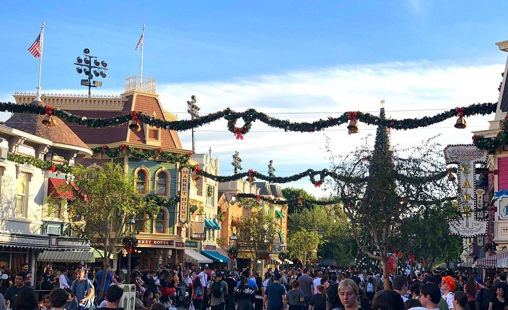 Christmas time at Disneyland Main Street