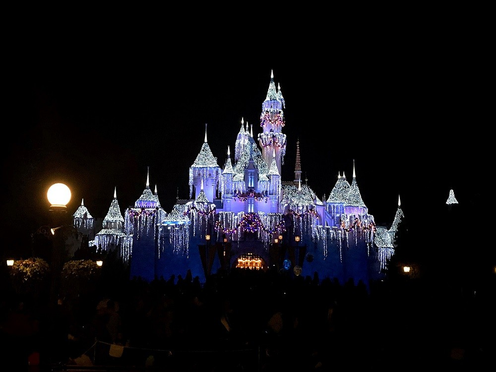 Christmas time at Disneyland Resort The lit up Sleeping Beauty Castle at night
