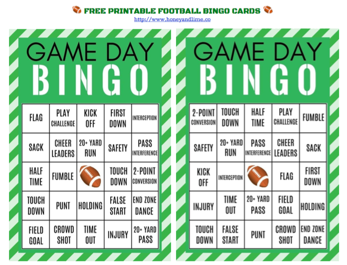 picture regarding Free Printable Football Bingo Cards named Pleasurable Recreation Working day Celebration Designs: Cost-free Printable Soccer Bingo