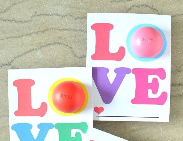 LOVE printable Valentine cards for kids with EOS lip balm - The Suburban Mom