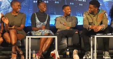 Black Panther cast at the press conference Danai Gurira Lupita Nyongo Michael B Jordan Chadwick Boseman