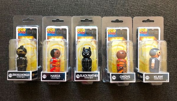 Black Panther merchandise pin mate wooden figures