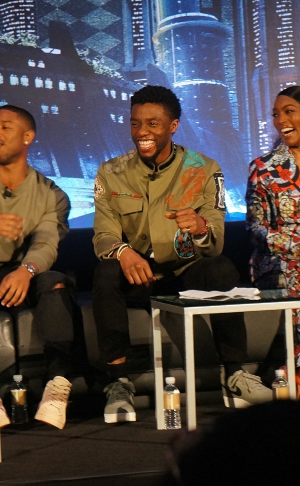 ChadwicK Boseman at the Black Panther press conference