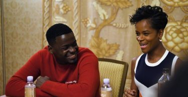 Daniel Kaluuya and Letitia Wright at the Black Panther press conference, Los Angeles, CA, January 2018