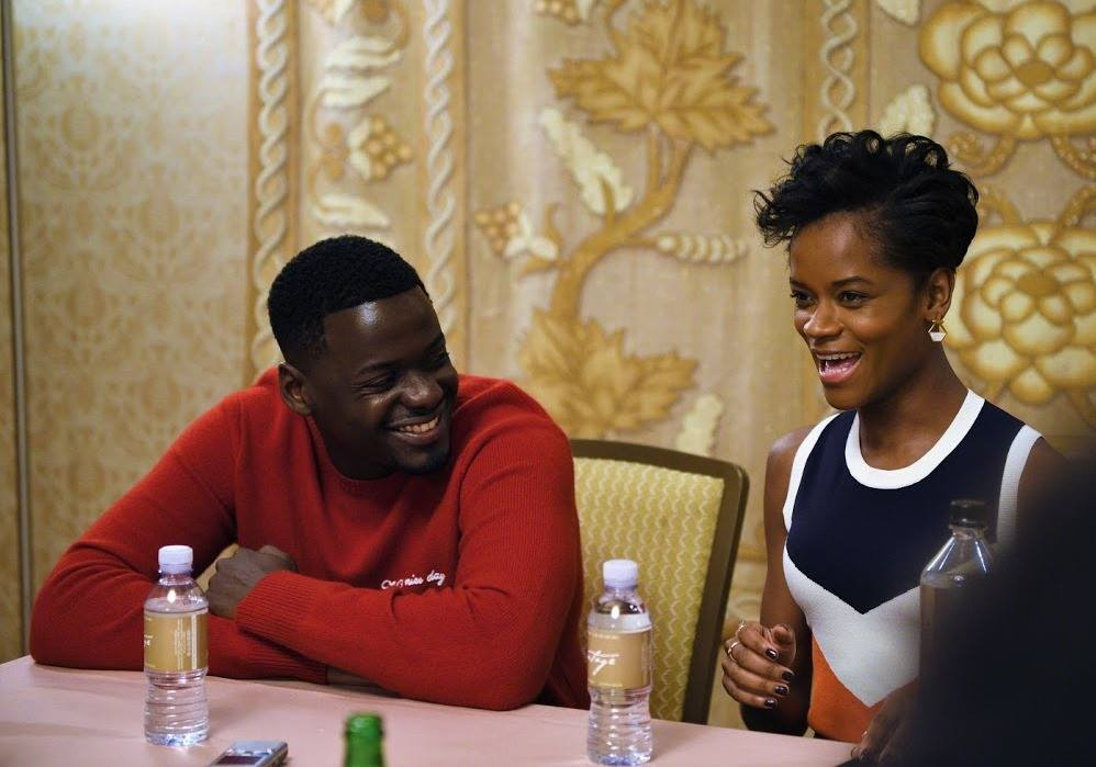 Black Panther's Daniel Kaluuya and Letitia Wright Talk About Their Roles, The Black Experience - Daniel Kaluuya and Letitia Wright at the Black Panther press conference, Los Angeles, CA, January 2018