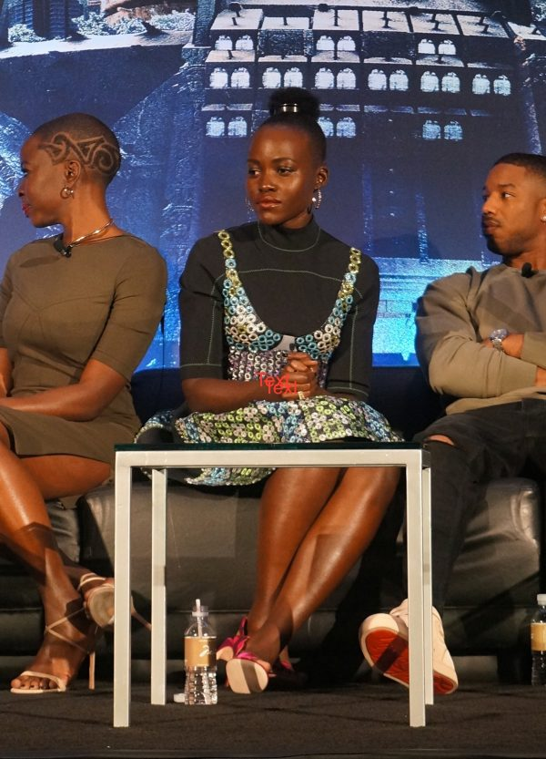 Lupita Nyong'o at the Black Panther press conference in Los Angeles, CA, January 2018