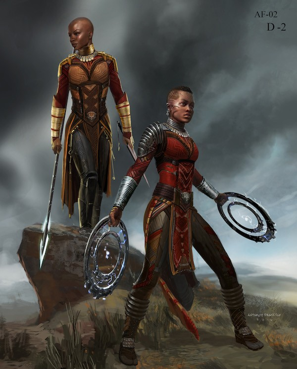 Marvel Studios' BLACK PANTHER Dora Milaje Conceptual Character and Costume Design Sketch Costume Design: Ryan Meinderding and VisDev Team Concept Artist: Anthony Francisco ©Marvel Studios 2018