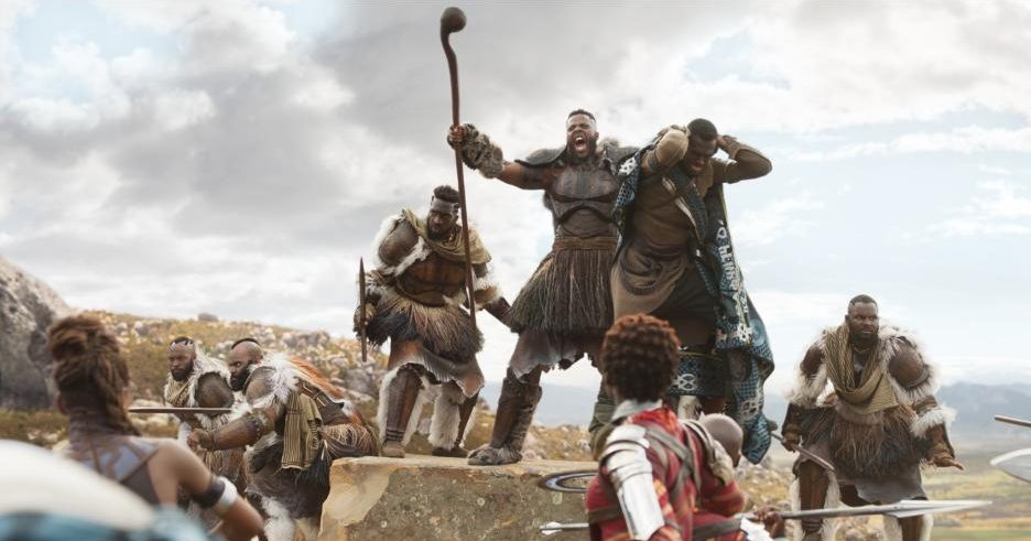 Marvel's Black Panther movie still, M'Baku in battle