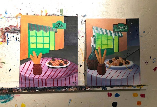 Paint and Sip Los Angeles Italian Bistro painting For Disneys Lady and the Tramp