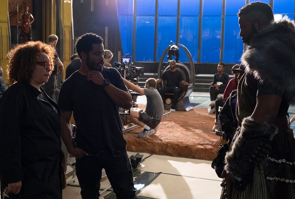 Ruth Carter, Ryan Coogler, Winston Duke on Black Panther set