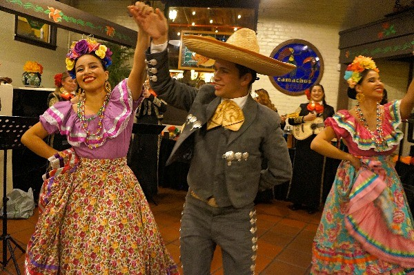 Traditional Mexican dancers at El Paseo Inn restaurant Los Angeles CA